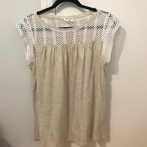 Short sleeve beige and white shirt